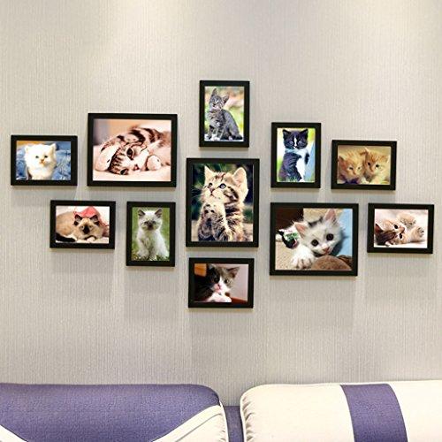 Decoratieve fotolijst van massief hout om zelf te maken, creatieve foto-wandsets van de portemonnee met 11 sets bankovertrekken (kleur: F, maat: 11 lijst/135 x 70 cm)