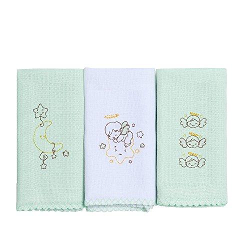 Babete Cores Bordados Karinho, Papi Textil, Verde, 40Cmx40Cm, Pacote De 3