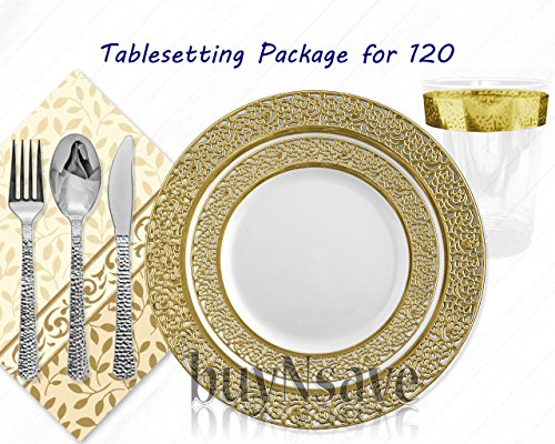 "Elegant Wedding Party Disposable Plastic Plates Inspiration White with Gold,for 120 Guests,Dinner Plates10.25"",Salad Plates7"",Napkins,Tumblers,Forks,Spoons,Knives,with 1 Vanilla Scent Diamond Candle"