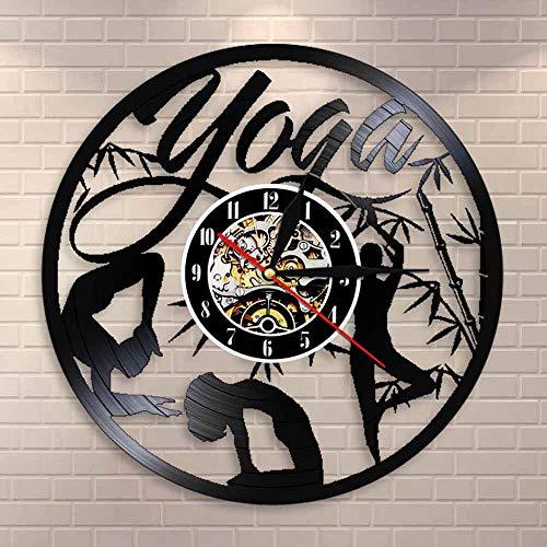 Encontrar su equilibrio Yoga Cotizaciones en la vida Reloj de pared Yoga Studio Vinilo Record Reloj de pared Mandala Om Meditar Zen Lotus Buddha Spirit