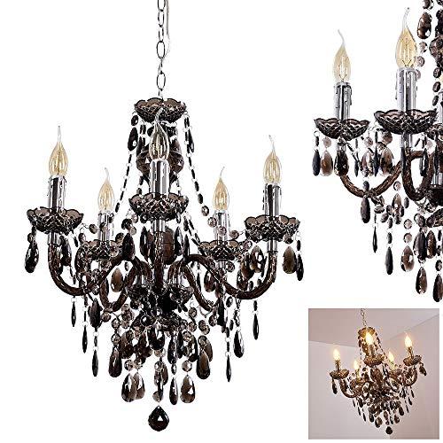 Kronleuchter Delhi aus Metall in Schwarz, Hängelampe 5-flammig, 5 x E14 je 40 Watt, klassische Pendelleuchte mit Zierkristallen, geeignet für LED Leuchtmittel, Vintage/Retro Design
