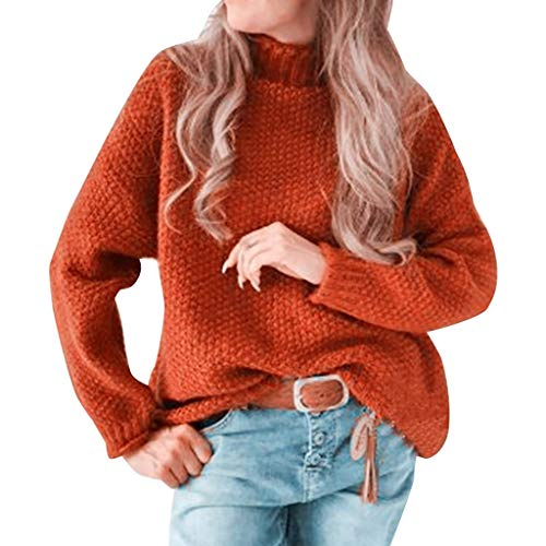 Buy GREFER Sweater Womens Fashion Solid Loose Turtleneck Knitted Pullovers Warm Winter Jumper Tops R...