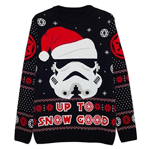 Star Wars Stormtrooper Up To Neve Buono Knitted Jumper Uomo Nero XS | Natale Jumper Ugly Sweater Fair Isle Natale Idee Regalo Abbigliamento Uomo