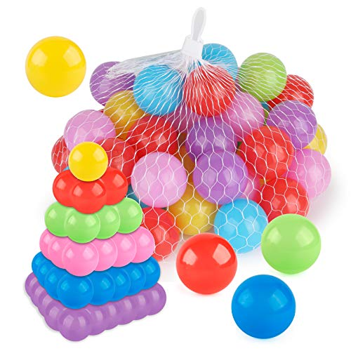 Coogam Pit Balls Pack of 50 - BPA Free 6 Color Hollow Soft Plastic Ball for Kids Birthday Pool Tent Party Favors Summer Water Bath Toy ( 6CM )