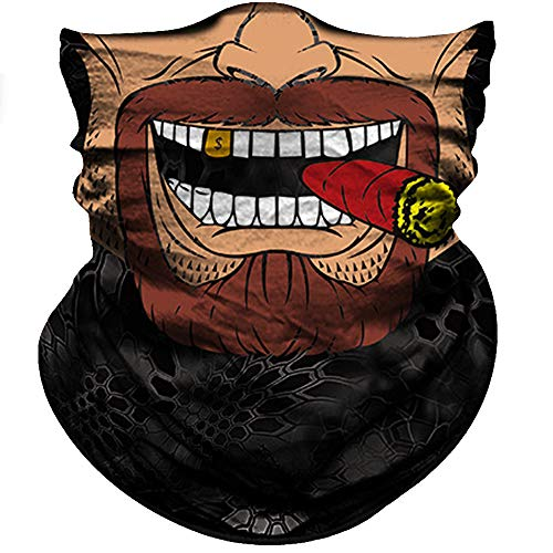 Obacle Motorcycle Face Mask Sun UV Dust Wind Protection Tube Mask Seamless Bandana Face Mask for Men Women Bike Riding Cycling Biker Fishing Outdoor Festival (Clown Brown Square Face With Red Cigar)