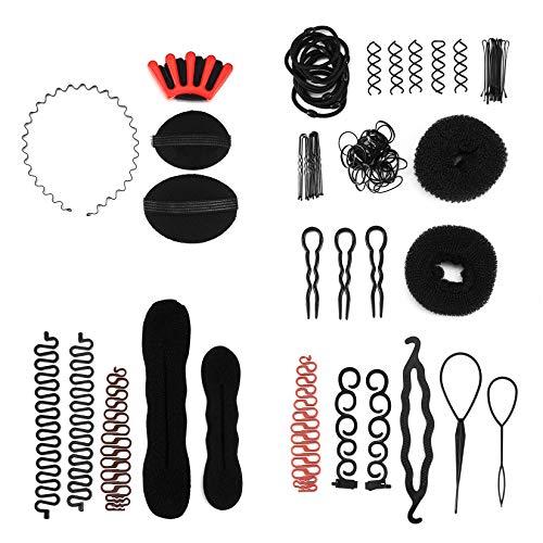 Haare Frisuren Set,Haar Zubehör styling set,Hair Styling Accessories Kit Set Haar Styling Werkzeug für Unsterschiedliche Haarestyle, 58 Stücke