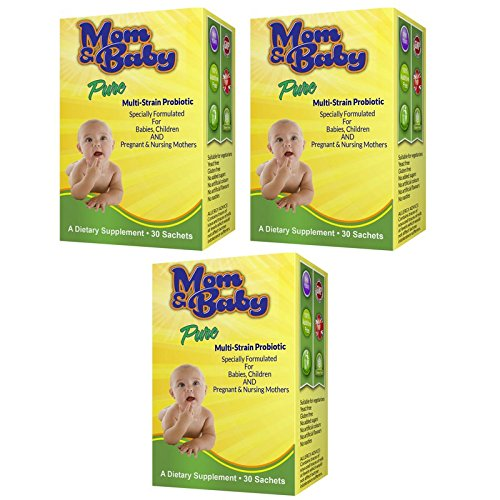 Mom and Baby Pure Multi-Strain Probiotic Powder - Safe for Babies Infants and Children - Relief for Colic, Diarrhoea, Constipation Trapped Wind, Reflux - 1 Billion Friendly Bacteria includes Lactobacillus Acidophilus plus FOS Prebiotics- Good for Pregnant and Breastfeeding Mothers to help support the Child's Immune System and aid Digestion - (Sachets 1 a day) - Additive Free - #1 Quality Infant Probiotic Made in the UK to GMP Standards (90 sachets)