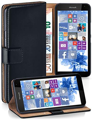 MoEx Cover a Libretto Compatibile con Microsoft Lumia 535 | Fessura Carta + Soldi, Supporto, Nero