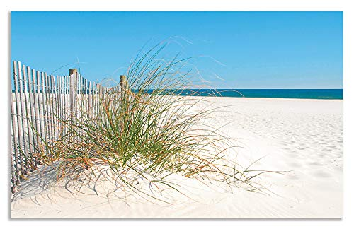 Artland Design Spritzschutz Küche I Alu Küchenrückwand Herd Landschaften Strand Fotografie Creme H8FA Schöne Sanddüne mit Gräsern und hübschem Zaun