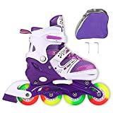 JIFAR Youth Children's Inline Skates for Kids, Adjustable Roller Blades with Light Up Wheels for Girls Boys, Indoor&Outdoor Ice Skating Equipment Small Size(12J-2 US), Pruple