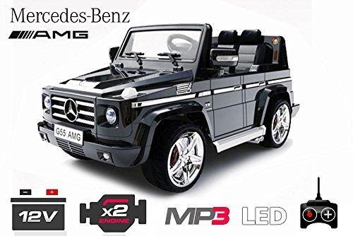 Lizenz Kinderauto Mercedes - Benz G55 AMG 2x 35W Motor MP3 RC SUV Jeep Elektroauto Kinderfahrzeug Ferngesteuert Elektro Auto (Schwarz)*