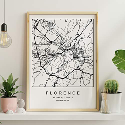 Nacnic Lámina Mapa de la Ciudad Florence Estilo nordico en Blanco y Negro. Poster tamaño A3 Sin Marco Impreso Papel 250 gr. Cuadros, láminas y Posters para Salon y Dormitorio