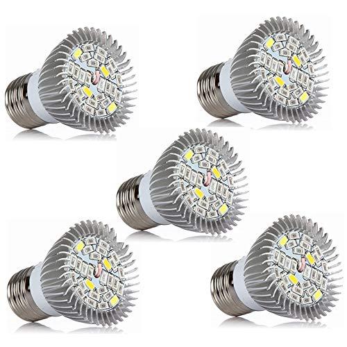 Sueño Edge Bombilla de cultivo LED, Bombillas de cultivo de espectro completo de 5 vatios para plantas de interior Hidropónicas, Bombillas de luces de planta para flores suculentas (E26 / E27), AC85-2