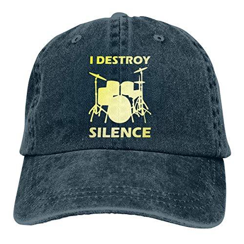 Jopath Casquette de baseball unisexe I Destroy Silence Drums 1 vintage Jean Trucker Hat Bleu marine