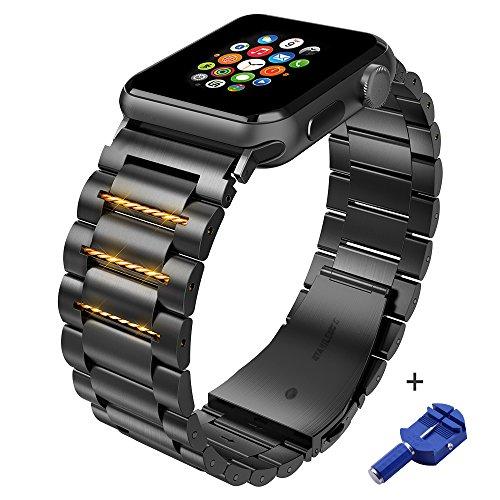 HOCO Fashion Cinturino Acciaio Inossidabile per Apple Watch 42mm / 44mm Cinturino di Ricambio per Serie iWatch 1 2 3 4(Nero)