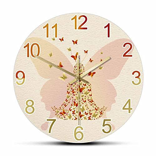 NIGU Reloj de pared moderno Mujer Meditando en Lotus Silencioso Reloj de Pared Diseño de Mariposa Estudio de Yoga Decoración del Hogar Reloj Cuerpo Positivo Sukhasana Pose Obra de Arte