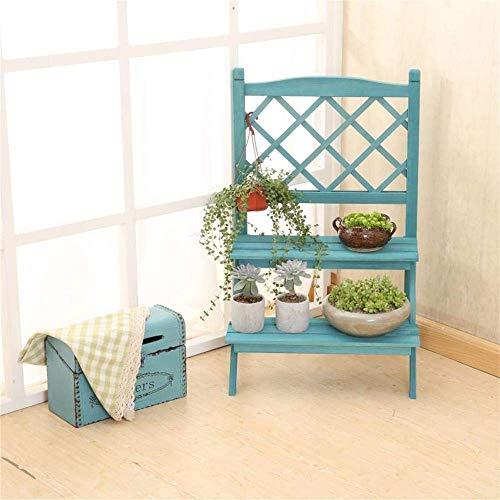 Decoratiestandaard voor thuis, twee etages, eenvoudige stap, bloem, corrosiebestendig, hoekstandaard van massief hout, balkon, binnen en buiten, bloempot, rek Yanxuan, kleur: Blauw