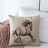 Throw Pillow Covers 16' x 16' Motion Anatomy Painting Horse On Draw Gorgeous Artist Artistic Design Mare Cushion Square Linen Pillowcase for Winter Home Decoration