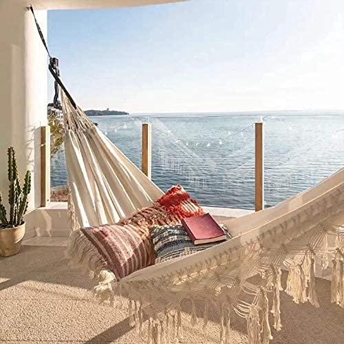 TNSYGSB Hamaca doble para camping, viaje, hamaca para cama, jardín, balancín para 2 personas, color blanco