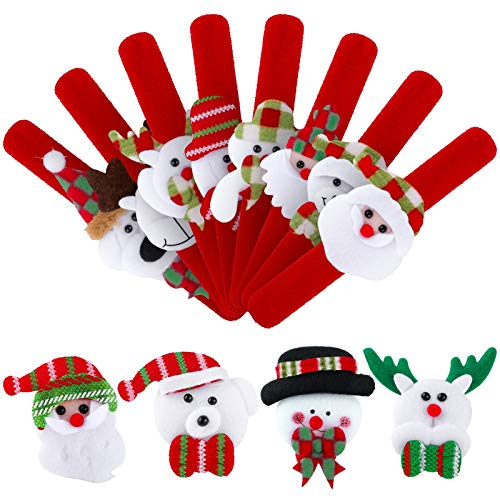 Elcoho 12 Pieces Christmas Slap Bracelets Xmas Party Favors Bracelets Slap Bands for Christmas Party Favors
