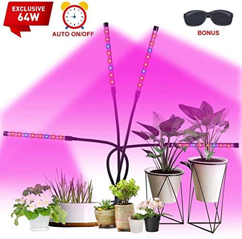 Pflanzenlampe, VAZILLIO 32 COB 64W Pflanzenlicht, Automatische Ein- / Ausschalten Längere Klammer, dickeres Pad, 360 Grad verstellbarer Schwanenhals …