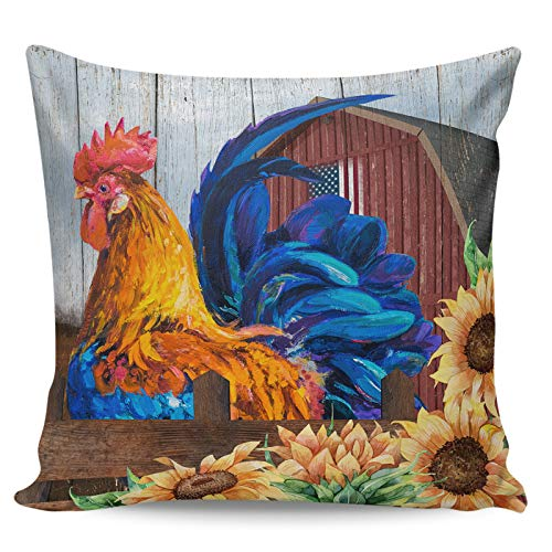 Decorative Throw Pillow Covers- Farm Rooster Sunflower Vintage Red Barn Ultra Soft Pillowcase Comfy Square Cushion Cover Case for Sofa Bedroom, 16' x 16'