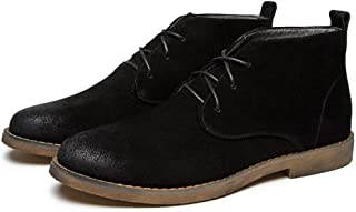 Sunny&Baby Fashion Ankle Boots for Men Chukka Boot Lace up Suede Round Toe Burnished Style Stitching Wear Resistant Vegan Rubber Sole Durable (Color : Black, Size : 6.5 UK)