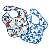 Bumkins Disney Mickey Mouse SuperBib, Baby Bib, Waterproof, Washable, Stain and Odor Resistant, 6-24...