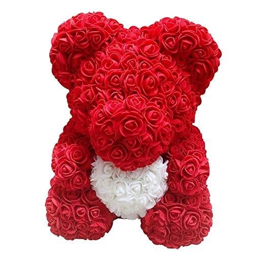 Delisouls Rosa Oso Osito Oso, Hecho a Mano Lindo Moda Precioso Rojo Grande Rosa Juguetes, Adornos Regalos para San Valentín Día 25cm Fiesta Cumpleaños Paisaje - Azul Real (Red)