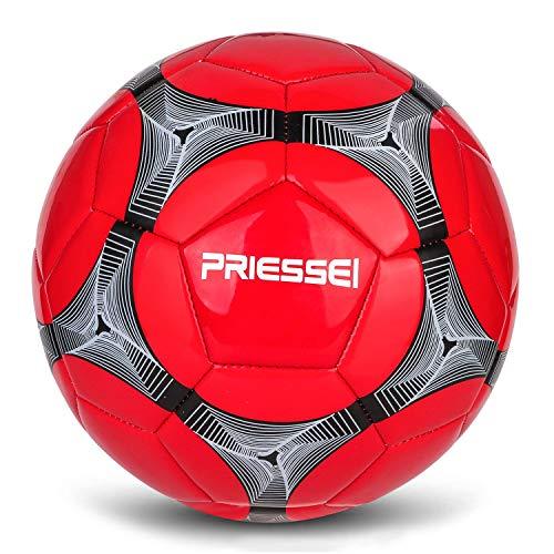 Priessei Balón de entrenamiento de fútbol Tamaño 5 Oficial para interiores y exteriores Balón de fútbol Profesional Balón de partido (rojo)