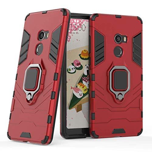 LuluMain Compatible con Xiaomi Mi Mix 2 Funda, Anillo Metálico Sujeción Soporte Antichoque Caja (Funciona con el Montaje de Coche Magnético) Doble Capa Case Carcasa para Xiaomi Mi Mix2 (Rojo)