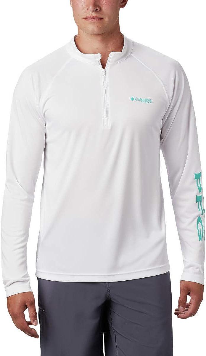 Columbia Men's Terminal Tackle 1 4 Bright 品質検査済 超目玉 White Logo Zip Aqua