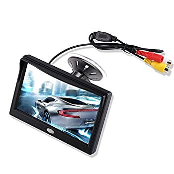 5'' Inch TFT LCD Car Color Rear View Monitor Screen for Parking Rear View Backup Camera with 2 Optional Bracket Suckers Mount and Normal Adhesive Stand  Camera not Included Monitor Only