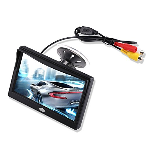 5'' Inch TFT LCD Car Color Rear View Monitor Screen for Parking Rear View Backup Camera with 2 Optional Bracket(Suckers Mount and Normal Adhesive Stand), Camera not Included, Monitor Only
