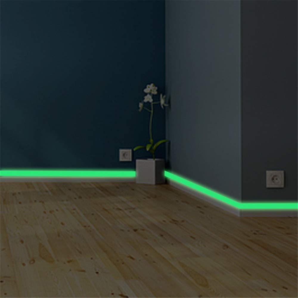 KLOP Family Luminous Strip Wall Sticker Removable Mural Decals Vinyl Art Room Decor DIY Fluorescent Floor Car Sticker Glow in The Dark Tape Self Adhesive Wallpaper for Stairs Stage(Green,2cm100cm)