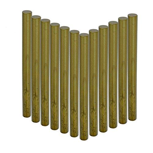 Glue Gun Sealing Wax Sticks, Yoption 12 Pcs No Cord Wicks Cylindrical Fire Manuscript Sealing Wax for Glue Gun (Green Gold#1)