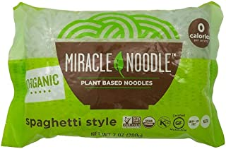 Miracle Noodle Organic Shiritaki Konjac Spaghetti Pasta, 7 oz (Pack of 6), Low Carbs, Low Calorie, Gluten Free, Soy Free, Keto Friendly (Packaging May Vary)