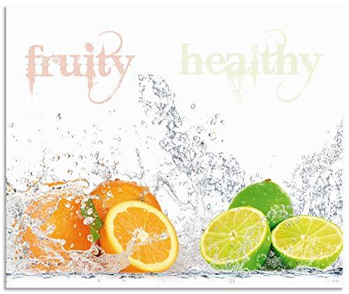 Artland Spritzschutz Küche aus Alu für Herd Spüle 60x50 cm Küchenrückwand mit Motiv Obst Früchte Orange Limette im Wasser Spruch Modern Hell S6JP