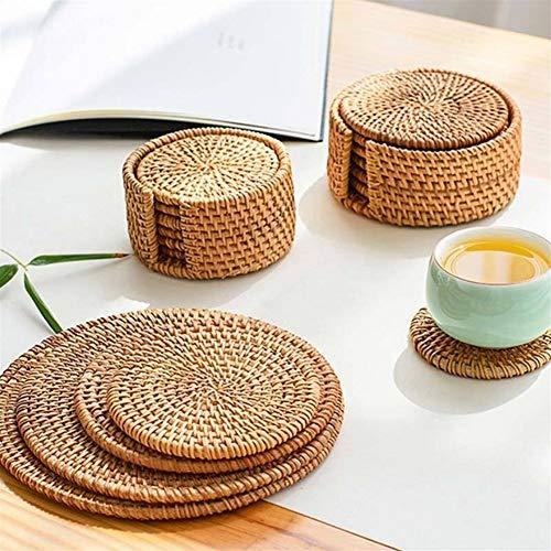 LZFLZ Tischset Pad Untersetzer Küchentisch Matten Rattan Achterbahn Schüssel Matten Polsterung Matte Isolation Pad Runde Tischsets (Color : As Shown, Size : 16cm)