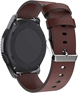 PINHEN 22mm Quick Release Watch Bands,Leather Replacement Strap for Gear S3, MOTO 360 46mm, LG G Watch, Huawei Watch 2 Classic, Ticwatch Pro (Leather Coffee)