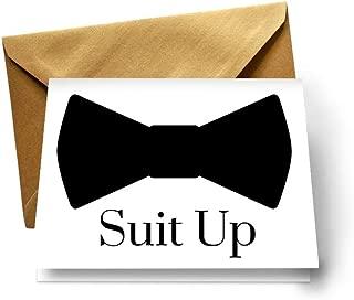 Suit Up Cards for Asking My Groomsmen Best Man Proposal Set of 8 (Gold Envelopes)