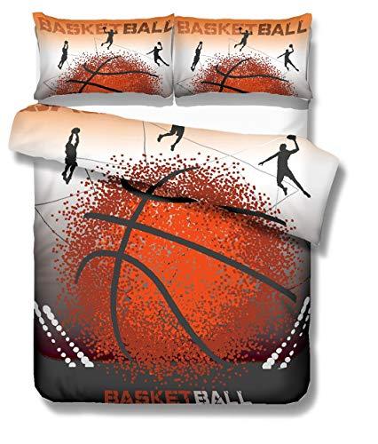 Stillshine Funda nórdica Cama 90 cm 3D Baloncesto Estilo Deportivo Ropa de Cama Niños Funda nórdica y Funda de Almohada