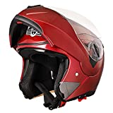 AHR RUN-M Full Face Flip up Modular Motorcycle Helmet DOT Approved Dual Visor Motocross Red L
