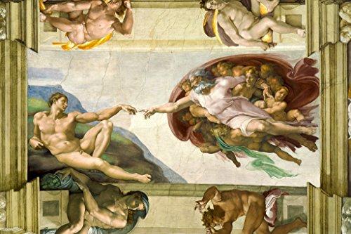 Michelangelo The Creation Adam Fresco Sistine Chapel Ceiling Poster 18x12