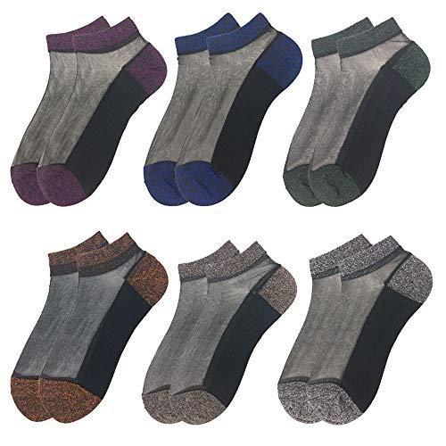 whatUneed Spitze-Knöchelsocken, ultradünne Anti-Rutsch-Belüftung Transparent Schöne Crystal Silk Strümpfe elastische kurze Knöchelsocken für Frauen und Mädchen (6 Paare)