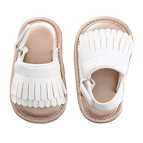 Baby Sandal Tassels Summer Toddler Slipper Shoes 0-18 Months (12-18 Months, White)
