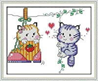 クロスステッチキット刻印刺繡-猫の愛-大人の初心者スターターキット-DIYクロスステッチ針仕事フルレンジのプリントパターンクラフト家の装飾ギフト11CT(16x20インチ)