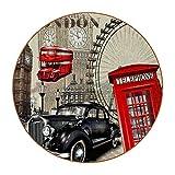 Redondo Posavasos Londres Vintage Posavasos de Cuero 6 Piezas impresión Coasters Antideslizante para Café Bebida Té Vino Cerveza 11x11 cm