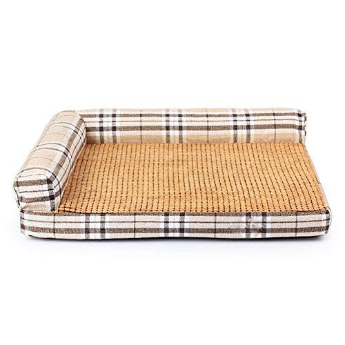 DJVD Hundebett-Haube-Aufblasbare Zwillingsmatten-Bett-Zwischenlagen Gelenk-Entlastung Und Verbesserter Schlaf Plüsch-Sofa-Art Haustier-Bett Für Hunde Und Katzen,Beigestripes