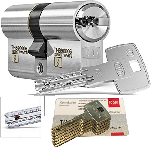 DOM iX Twido 333iX7TWMTB Modular-Doppelzylinder mit 5 Schlüssel, Länge (a/b) 30/40mm (c= 70mm), mit Sicherungskarte, mit Not- u. Gefahrenfunktion und erhöhtem Bohrschutz
